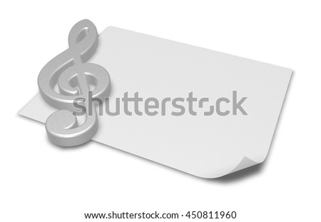 clef symbol on blank white paper sheet - 3d rendering