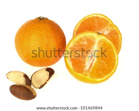 Clementines and Brazil Nuts - stock photo