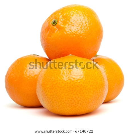 Clementines from low perspective isolated on white.