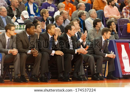 Clemson, SC - January 11, 2014 A look of concern begains to form with the Duke coaches - stock photo