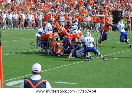 CLEMSON, SC - SEPT. 11: Pileup in the middle of the fieldon Spetember 11, 2010 in Clemson, South Carolina.  Clemson defeated Presbyterian 58-21.