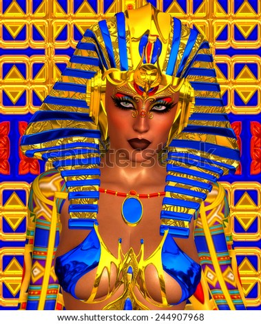 Cleopatra or any Egyptian Woman Pharaoh. Modern digital art fantasy. Set on a colorful abstract background to enhance the image of Egyptian wealth, beauty and power.Beautiful cosmetics and face.  - stock photo