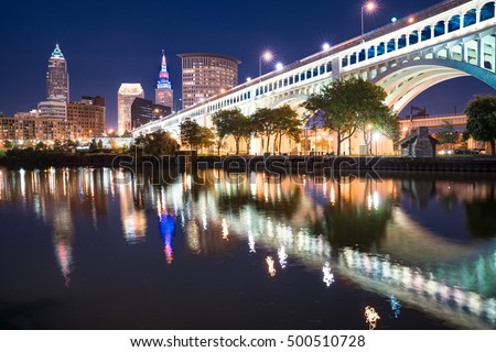 Cleveland city skyline and Detroit-Superior Bridge at night across the Cuyahoga river