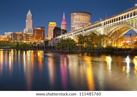 Cleveland. Image of Cleveland downtown at twilight blue hour. - stock photo