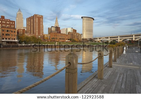 Cleveland. Image of Cleveland downtown during late afternoon. - stock photo