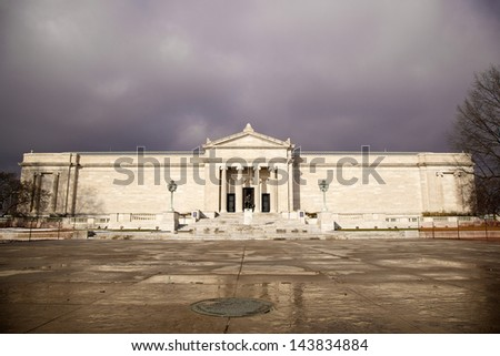Cleveland Museum of Art near the Reflecting Pool and University Circle - stock photo