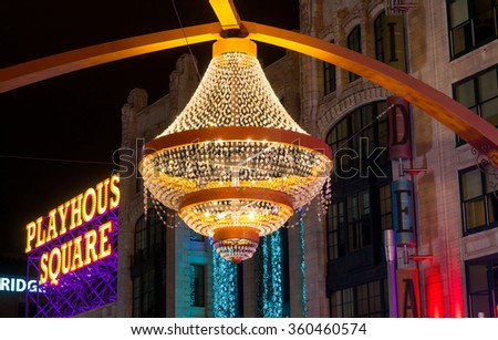 CLEVELAND, OH - JANUARY 1, 2016: One of Cleveland's most popular new landmarks is the GE chandelier suspended above Euclid Avenue in the center of the theater district, Playhouse Square.