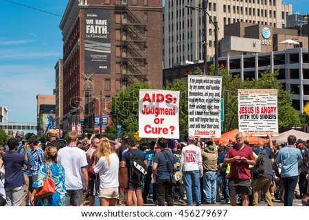 CLEVELAND, OH - JULY 20, 2016: A hard-core extremist religious group draws a crowd of the curious onlookers on Prospect Avenue during the Republican National Convention.
