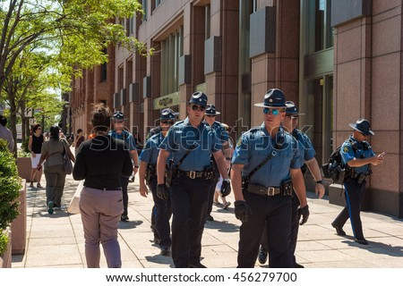 CLEVELAND, OH - JULY 20, 2016: Missouri state patrolmen are part of the multistate contingent of security forces keeping the peace during the Republican National Convention.