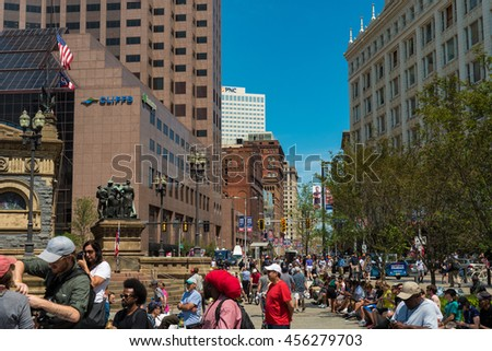 CLEVELAND, OH - JULY 20, 2016: Throngs of protesters, supporters, and the merely curious fill Public Square and Euclid Avenue on the third day of the Republican National Convention.