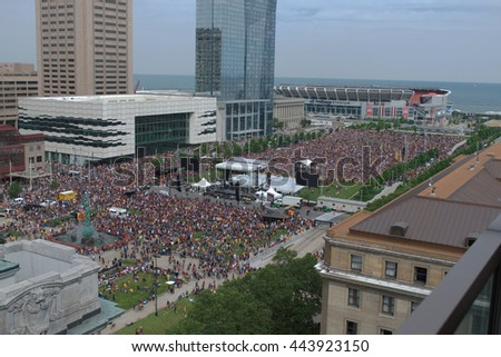 CLEVELAND, OH - JUNE 22 2016 - Cleveland Cavalier's fans gather in the rally zone during the championship parade thrown to celebrate the NBA Finals victory.
