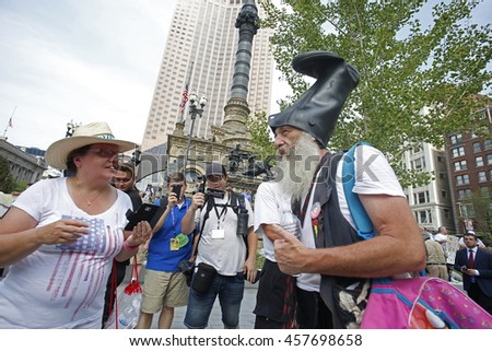 CLEVELAND - OHIO - JULY 21 2016: Thousands of delegates, activists, spectators & law enforcement from all over the US descended onto Cleveland for the Republican National Convention. Vermin Supreme