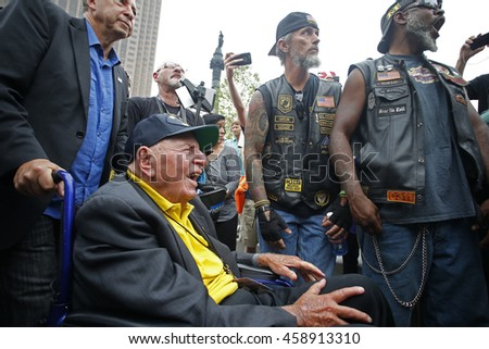 CLEVELAND - OHIO - JULY 20 2016: Thousands of delegates, activists, spectators & law enforcement from all over the US descended onto Cleveland for the RNC. World War Two & veteran bikers
