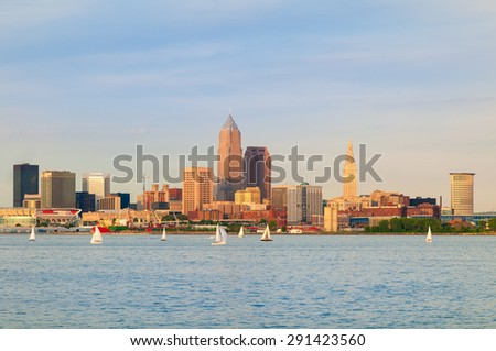 Cleveland, Ohio, near sunset, viewed from out on Lake Erie - stock photo