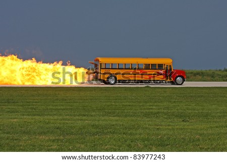 CLEVELAND, OHIO - SEPT. 3: Jet engine powered school bus performs at the Cleveland National Airshow on Sept. 3, 2011 in Cleveland, Ohio. - stock photo