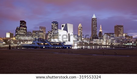 Cleveland panorama. Seen from the park by Lake Erie. - stock photo
