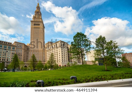 Cleveland's Terminal Tower stands tall over the newly renovated Public Square