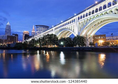Cleveland skyline seen accross Cuyahoga River - stock photo