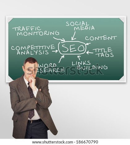 Clever man thinking about SEO optimization - stock photo