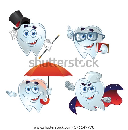 clever teeth hurry up on help - stock photo