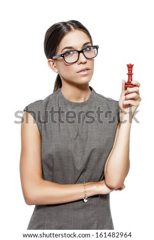 Clever woman holding chess figure, strategy, isolated on white - stock photo