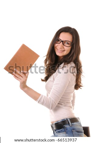 Clever young woman in glasses with books isolated on white background