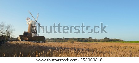 Cley marshes and windmill North  Norfolk England. - stock photo