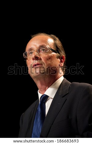 CLICHY-LA-GARENNE, FRANCE - APRIL 28, 2011 : Francois Hollande meeting for the Socialist primary