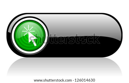 click here black and green web icon on white background - stock photo