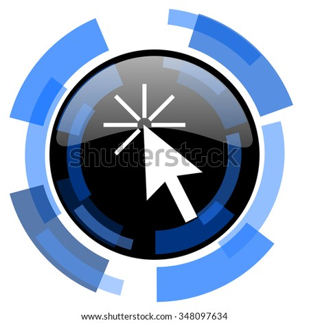 click here black blue glossy web icon - stock photo
