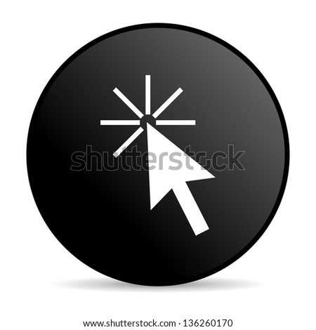 click here black circle web glossy icon - stock photo