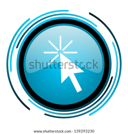 click here blue circle glossy icon  - stock photo
