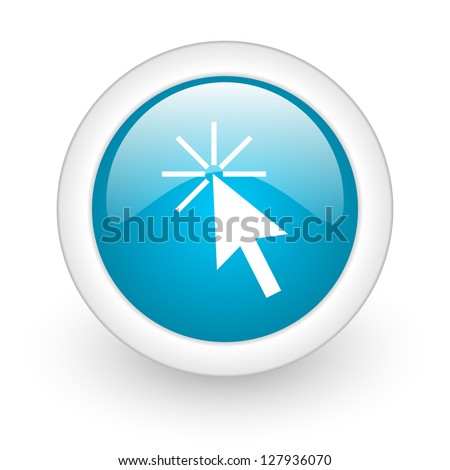 click here blue circle glossy web icon on white background - stock photo