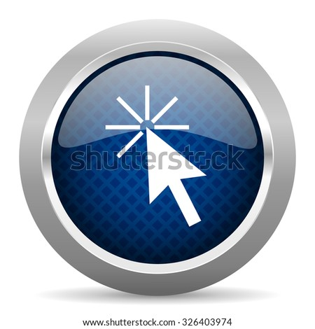 click here blue circle glossy web icon on white background, round button for internet and mobile app - stock photo