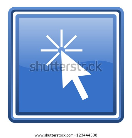 click here blue glossy square web icon isolated