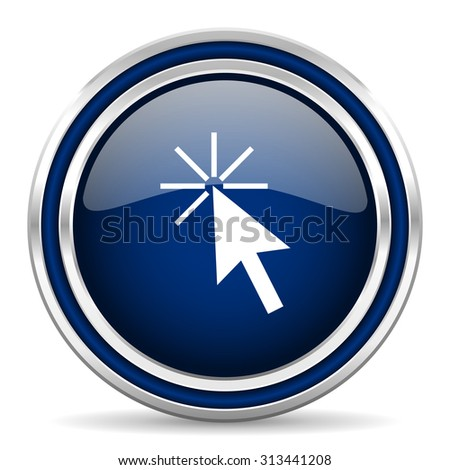 click here blue glossy web icon modern computer design with double metallic silver border on white background with shadow for web and mobile app round internet button for business usage  - stock photo