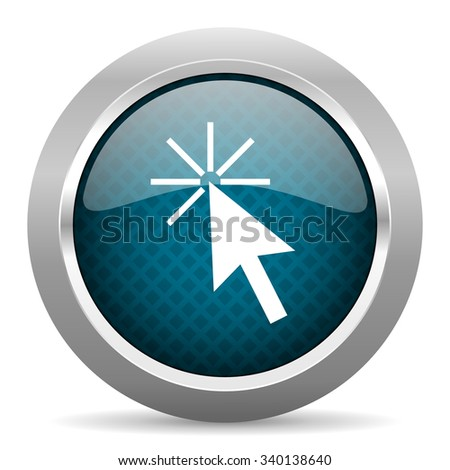 click here blue silver chrome border icon on white background  - stock photo