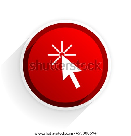 click here flat icon with shadow on white background, red modern design web element