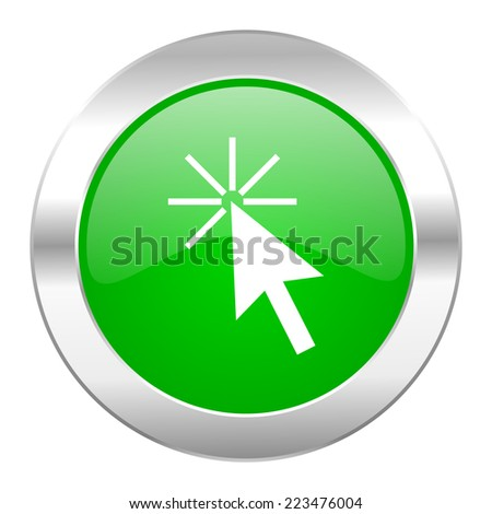 click here green circle chrome web icon isolated
