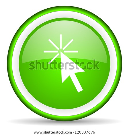 click here green glossy icon on white background