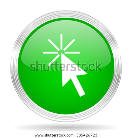 click here green modern design web glossy icon