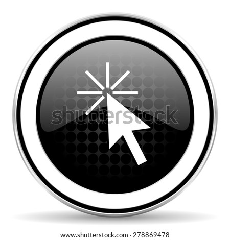 click here icon, black chrome button  - stock photo