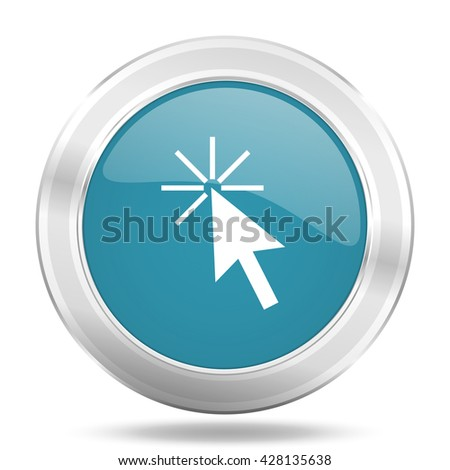 click here icon, blue round metallic glossy button, web and mobile app design illustration - stock photo