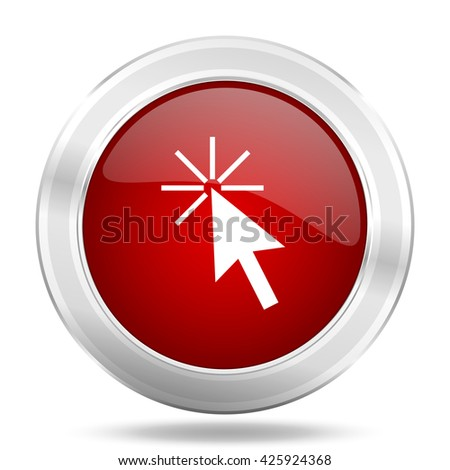 click here icon, red round metallic glossy button, web and mobile app design illustration