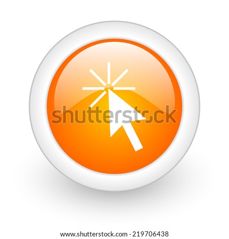 click here orange glossy web icon on white background