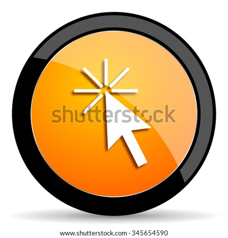 click here orange icon - stock photo