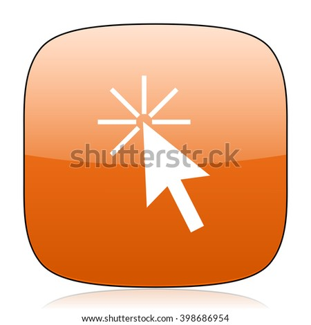 click here orange square glossy web icon - stock photo