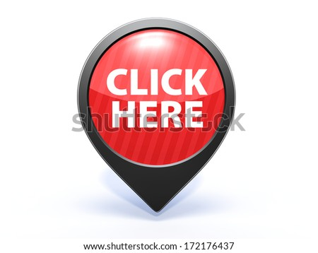 Click here pointer icon on white background