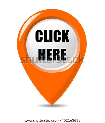 Click Here - promotional, modern pointer button on white background.