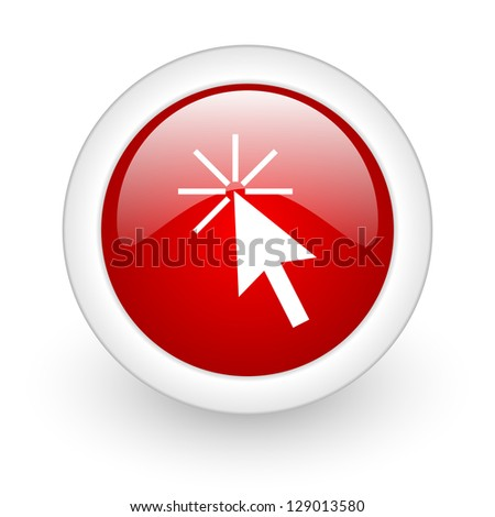 click here red circle glossy web icon on white background